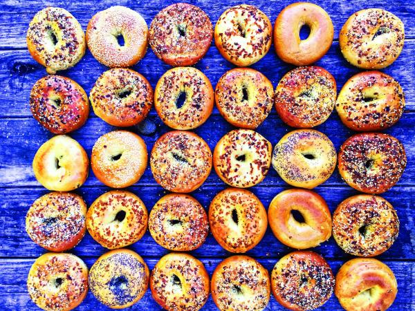 Bagels On Blue Table from Wholy Bagel