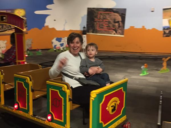 Hudson and Grandma at Strong Museum of Play