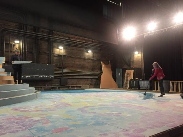 "Scenic Designer C. David Russell and Scenic Charge Cassandra Lentz work on the stage design for Tantrum Theater's production of ""A Midsummer Night's Dream"""