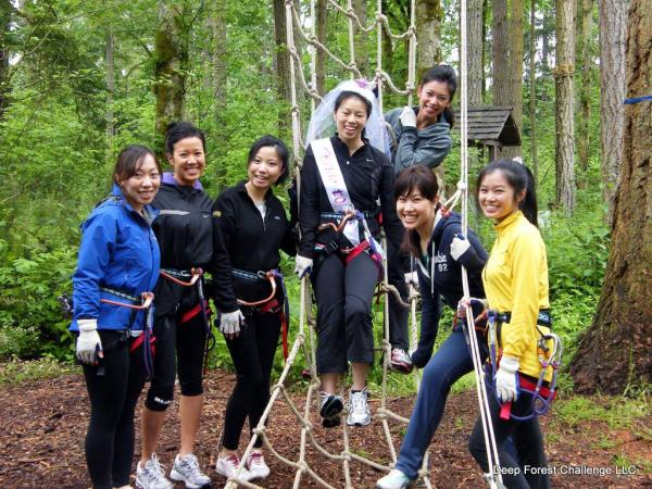 Northwest Trek deep forest challenge zipline