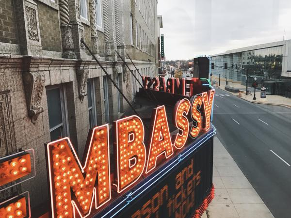 Historic Embassy Theatre Marquee Sign in Fort Wayne, Indiana