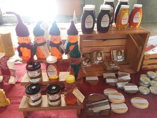 Display of honey and beeswax products