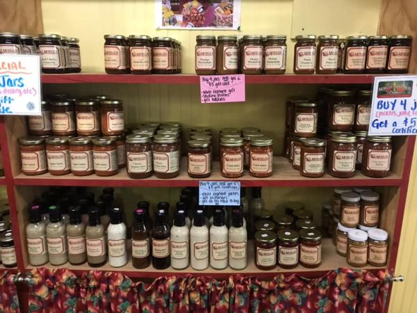 Shelves of jams and jellies at Morgan's Half Acre Produce