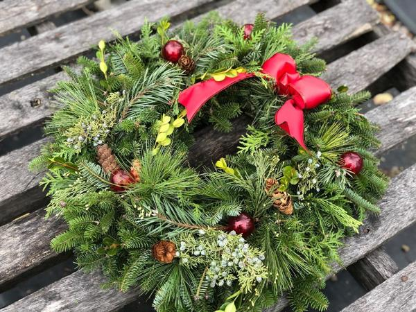 Holiday Evergreen Wreath at Treleaven Wines