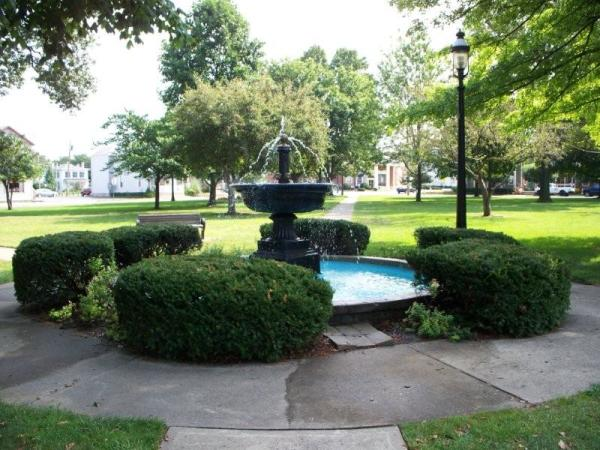 Fountain Library Park On A Sunny Day