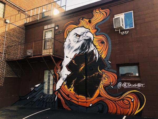 Eagle Mural by SaltRockArt in Downtown Eau Claire near Skin Prints