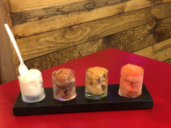 A Flight of Ice Cream at West Central Microcreamery in Fort Wayne, Indiana