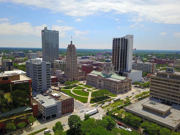 Downtown Fort Wayne Skyline Drone Photo - Fort Wayne, IN