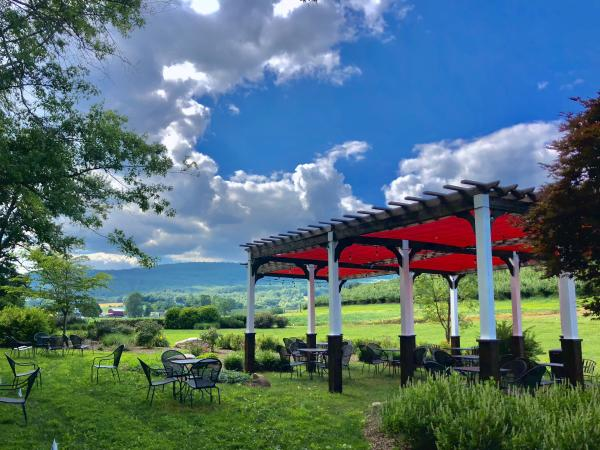 Patio tables and chairs on lawn with a ramada at Catoctin Breeze Vineyard