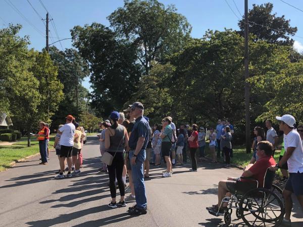 People on walking tour