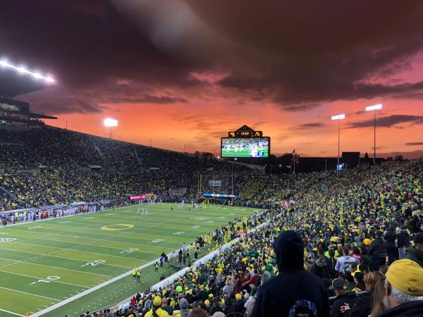 Autzen Stadium at Sunset by Peter Callero