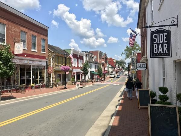 Downtown streetscape of Leesburg Virginia
