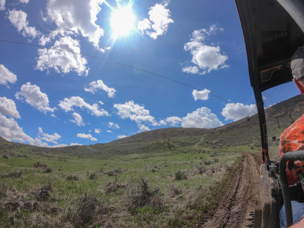 blue sky and dirt track up hill
