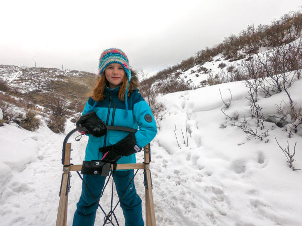 young girl on the back of a dog sled