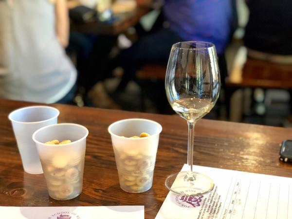 wine glass with crackers