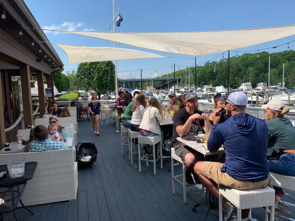 Outdoor waterfront dining at the Harbour Grille