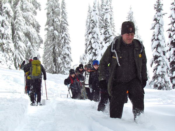 Ranger-led snowshoe walk at Mount Rainier's Paradise recreation area