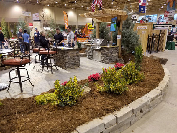 A beautiful display patio is setup in Century two  during the Outdoor Living and Landscape Show in Wichita