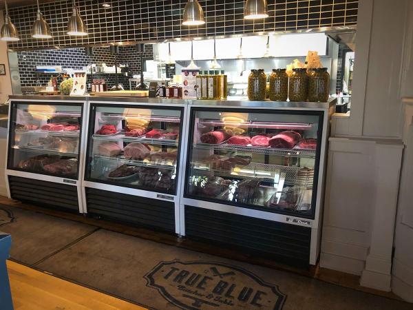 True Blue Butcher Table meat case