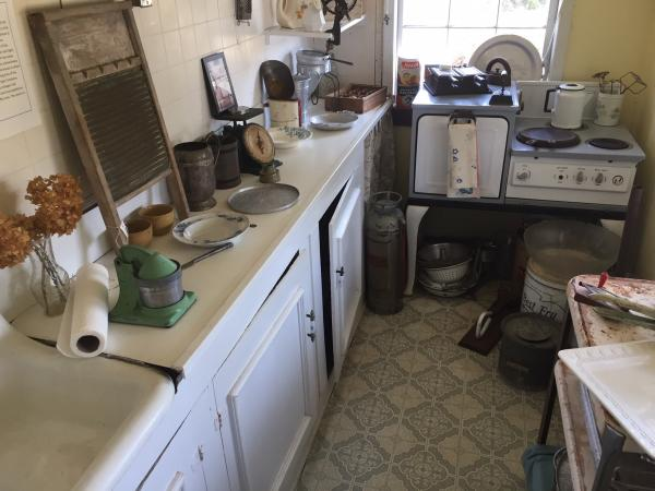 Typical early 20th century beach cottage kitchen at Wrightsville Beach Museum