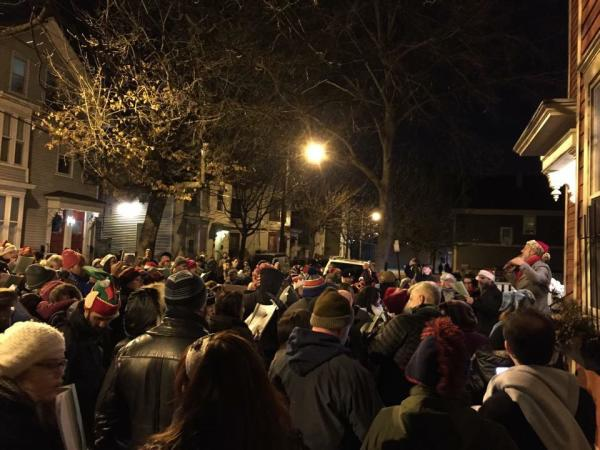 Crowd of people for West Side Caroling in Providence
