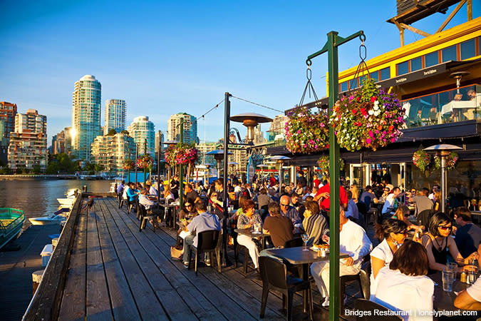 Outdoor dining at Bridges on Granville Island