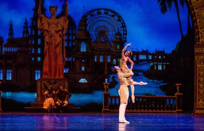 Performers dancing The Nutcracker at Joffrey Ballet in Chicago