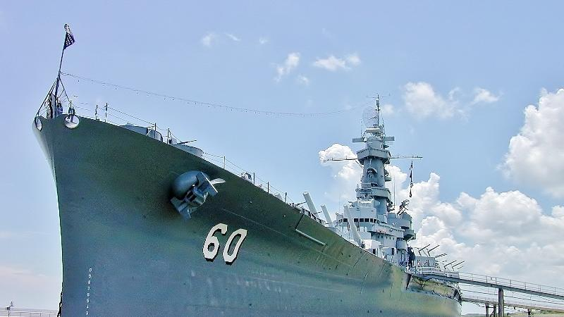 USS ALABAMA Battleship night