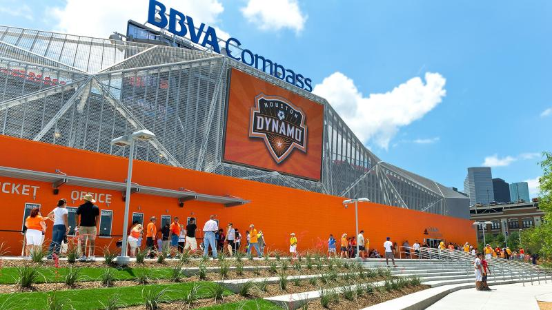 People entering the BBVA Compass Stadium on Houston Dynamos Opening Day
