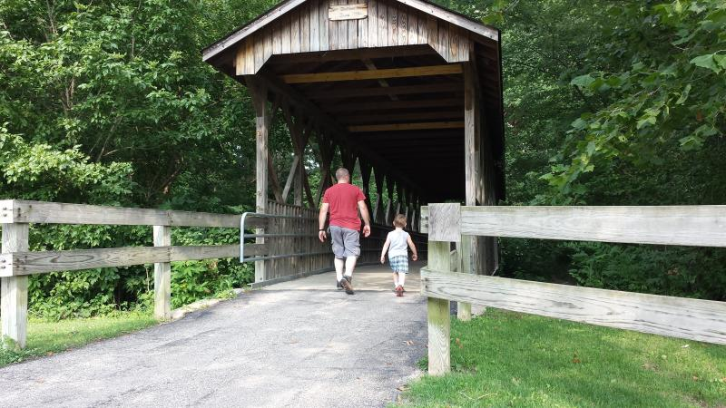 This pedestrian covered bridge is located at Pioneer Park in Mooresville.