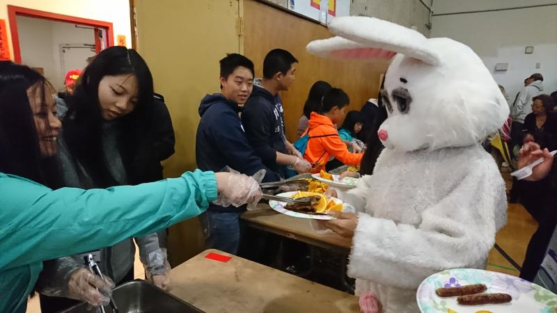Easter bunny in line for the Easter Pancake breakfast Chinatown