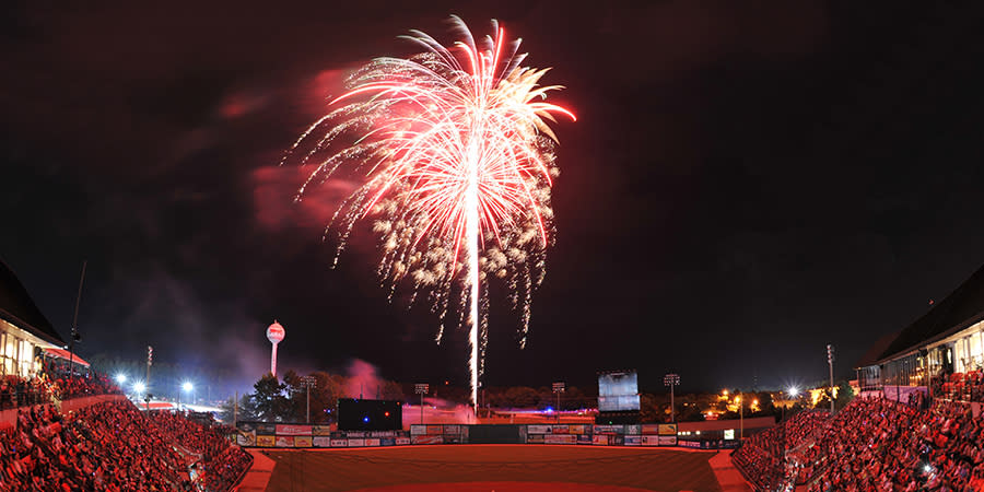 Fireworks at Five County Stadium