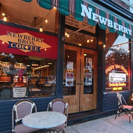 Outside shot of Newberry Bros. Coffee and Old Prohibition Bourbon Bar