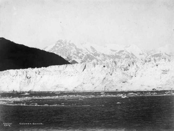 a historic photograph of Columbia Glacier