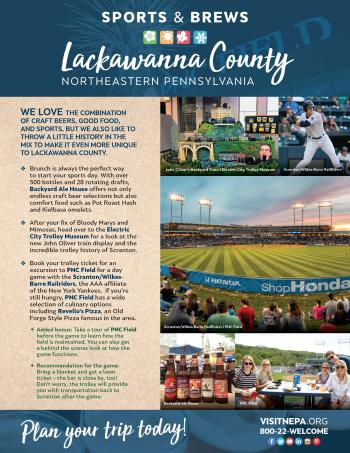 Sports & Brews Itinerary of things to do in Lackawanna County, PA.