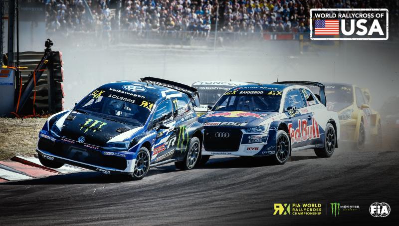 race cars on track for FIA World Rallycross