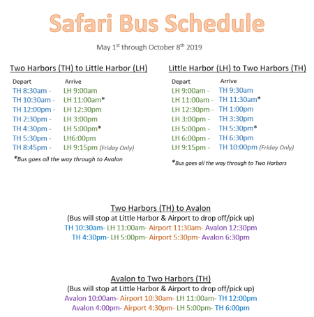 Safari Bus Schedule