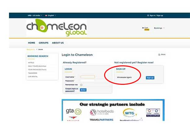 Chameleon Global Wholesale Agent Signup