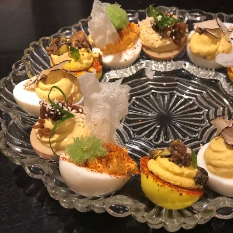 Assorted deviled eggs at Heritage Tavern