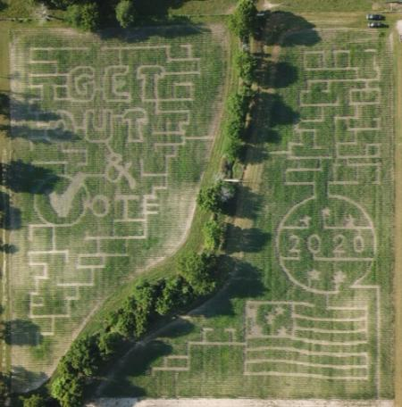 The Hogan Farm corn maze encourages everyone to get out and vote in 2020.