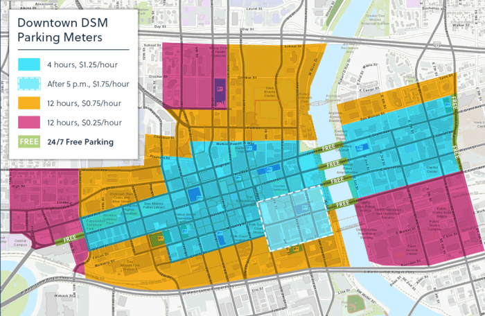 Downtown Des Moines parking meters map with hours and rates