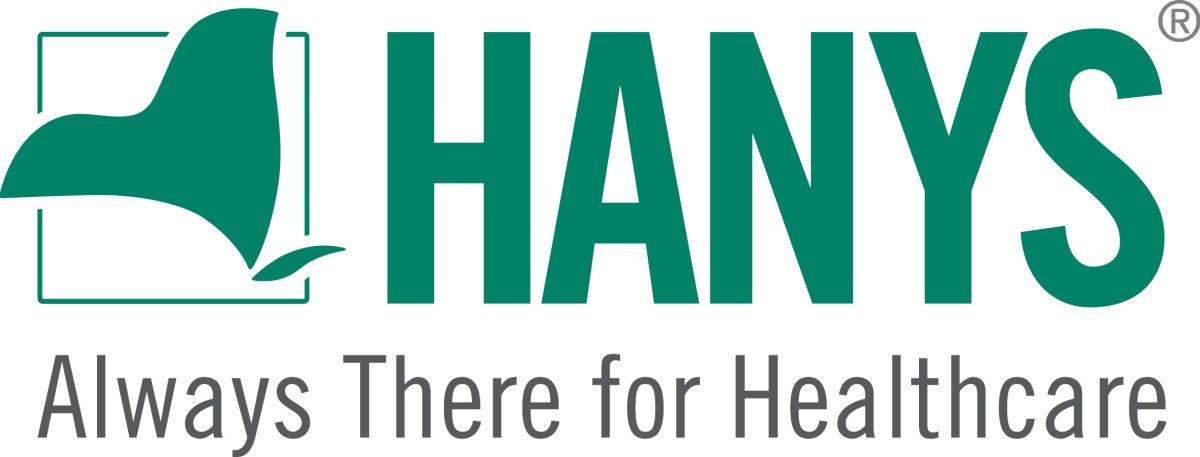 HANYS logo in green Always there for healthcare with outline of New York State