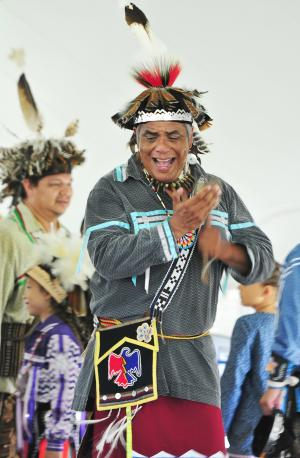 A man dances in the Native American Dance Festival at Ganondagan