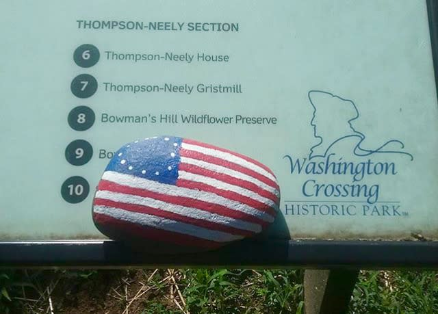 Patriotic painted rock in Washington Crossing Historic Park