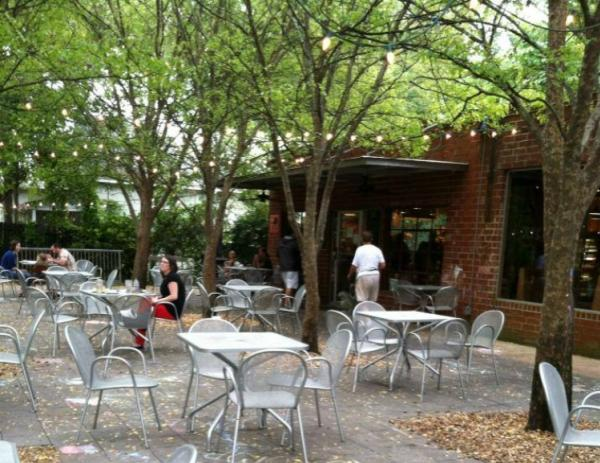 Outdoor dining area at Big City Bread in Athens, GA