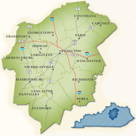 Bluegrass Region Map