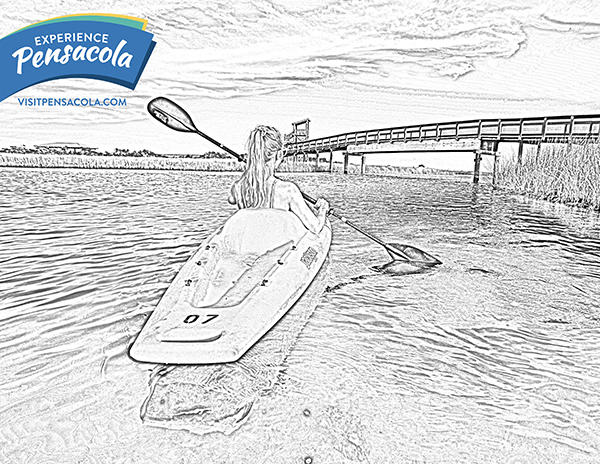 Kayaking at Big Lagoon State Park Coloring Sheet
