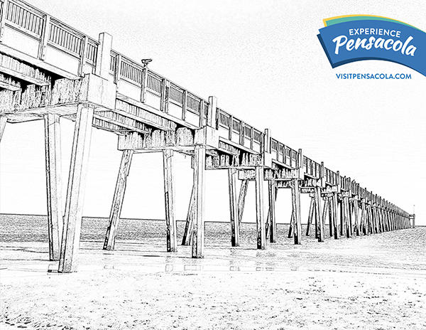 Pensacola Beach Pier Coloring Sheet
