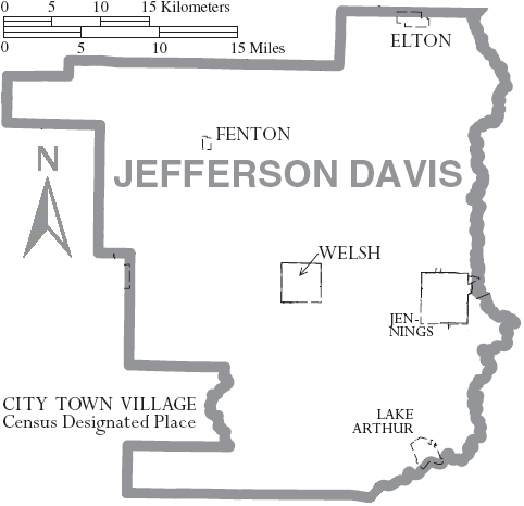Map of Jefferson Davis Parish, with municipal labels