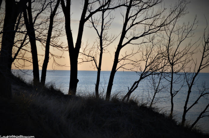 Indiana Dunes West Beach sunset through the trees